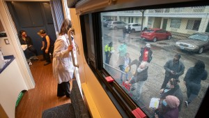 The Community Care Connection's mobile unit delivers vaccines and other services to area residents at a series of stops in Waukegan in spring 2021.